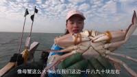 赶海小妹出海收昨天放的渔网,捕获了好多换了新衣裳的梭子蟹