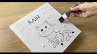 抽象画教学示范,红色雨伞下的猫咪,一起来见识下!