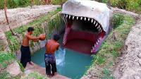 两兄弟在地下挖出一个鲨鱼泳池,进去一看,结果让人大开眼界!