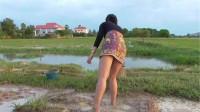 缅甸美女浑水摸鱼,转身的一瞬间,小伙眼里只有她!