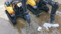 儿童挖掘机工作视频,破碎锤挖掘机震动好多下