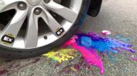 牛人把彩色碗放到车轮下面,实在是太减压了,好过瘾啊