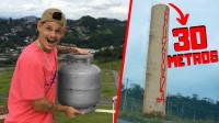将煤气罐从100米高塔扔下去会怎样?老外亲测,下一秒太硬核了!