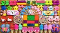 甜筒,玩具,水果等88种材料,混入无硼砂泥里,过程很治愈