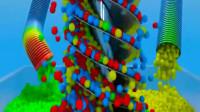 管道里流出彩色糖果大机械做搅拌