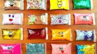 把有趣的表情袋子装满水晶泥与各种珠子,制作无硼砂史莱姆泥
