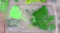 把绿色彩妆混入透泰制作泥巴,无硼砂,成品好美