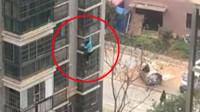 武汉精神分裂症女子从8楼外墙攀爬而下 惊险画面曝光
