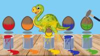 彩色油漆桶里面装着很多恐龙蛋