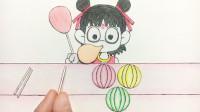 手绘定格动画:哪吒吃完泡泡糖,吹出五颜六色的气球,好玩