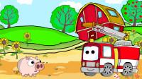 成长益智玩具,农家猪跑到火车轨道上,吊车现场赶走农家猪,托马斯顺利通行!