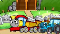 成长益智玩具,托马斯火车运输货物在轨道上和工程车进行比赛,谁先将第一个到达现场!