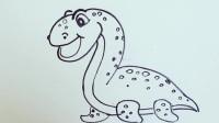 手绘简笔画丑萌恐龙系列——蛇颈龙