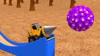 工程车在工作,撞击彩虹豆和多边形