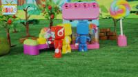 布鲁可的彩虹镇中的儿童游乐场新建了一个糖果屋里面好多棒棒糖