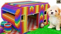 如何使用炫彩磁力球,制作小狗的露营车?一起来见识下!