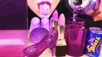 紫色的创意造型甜点,口红巧克力、高跟鞋果冻杯,真是美味又高颜值