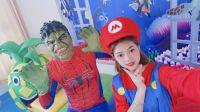 超级英雄绿巨人变身蜘蛛侠身体和绿巨人头 (一)