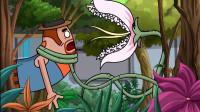 搞笑吃鸡动画:霸哥听说植物能增加属性,结果差点成为食人花的食物