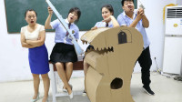 学霸王小九:老师给学生布置手工作业,结果学霸用废纸板做出一个恐龙,真厉害