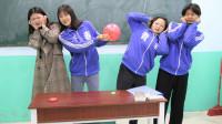 学生挑战用针扎气球让气球不爆,没想女学霸一次成功!太厉害了