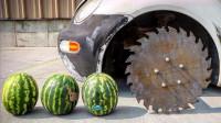 齿轮也能玩出新高度?老外为汽车装上齿轮轮胎,切割西瓜的瞬间直呼过瘾
