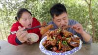 胖妹干农活累了,5斤土鸡烧鸡公,麻辣鲜香,开胃又下饭,吃过瘾