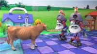 海盗船长僵尸VS一头牛,植物大战僵尸玩具视频
