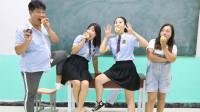 学霸王小九:老师请同学们吃大苹果,没想吃货女同学一口吃完一个苹果,太逗了