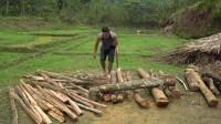 水稻哥 第105集 用斧头劈开木头为后期长期荒野生活做准备
