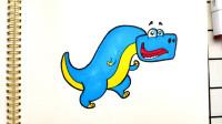 侏罗纪恐龙简笔画,画一只名字很长的恐龙,迪布勒伊洛龙!
