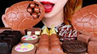 丰盛的巧克力大餐,每一种都造型独特,巨大的巧克力金蛋好想尝一尝