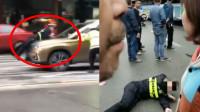 疑对抗执法!湖南交警被司机突然加速猛顶数十米 面色苍白倒地不起