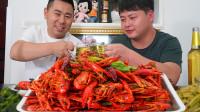 超小厨朋友来家做客,媳妇买50只小龙虾一两一个,喝瓶酒小脸通红