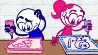 搞笑铅笔画小人:吃太多的蛋糕结果就是。。。