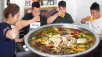 兄弟来家亲自下厨,大盆酸菜鱼配大盘麻辣鸡,4人吃大盆真过瘾