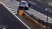 广东高速监控拍下这一幕,头一次见到智商这么低的男司机
