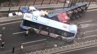 贵阳一公交车被拖车连环车祸殃及:车上十余人受伤送医