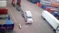 监控:美国港口的这起车祸,真替肇事者捏了把汗!