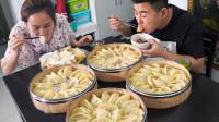饺子还得蒸着吃!超小厨2袋虾仁1斤肉包4笼蒸饺,蘸红油一口一个