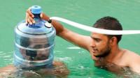 纯净水桶可以制作水下呼吸器吗?新奇趣味实验,一起来见识下!