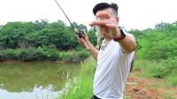 超便携伸缩路亚竿池塘狂拉白条,鱼饵落水瞬间中鱼!