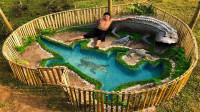 牛人为饲养鳄鱼,野外徒手挖出豪华泳池,成品太惊艳了!