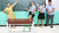 学霸王小九校园剧:老师测试同学们的视力,没想女同学直接把视力表背下来了,太逗了