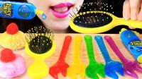 小姐姐自制彩色的创意果冻,都是扳手的造型,可以吃的梳子真是脑洞大开