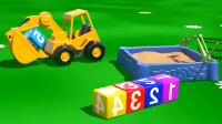 儿童挖掘机动画 挖掘机沙子里挖了好多的趣味数字