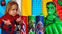 太神奇,萌娃小萝莉吃了魔法薯片吗?怎么变身蜘蛛侠和绿巨人?学色彩英语儿童启蒙益智趣味游戏玩具故事
