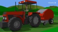 工程车玩具视频:拖拉机收割牧草,然后挖掘机 搅拌车 卡车修建一个足球场.avi