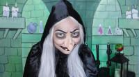 国外女子美妆秀:化妆打扮成老巫婆,送给白雪公主一个毒苹果