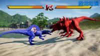 红色哥斯拉版霸王龙被蓝色棘背龙击杀 恐龙动漫